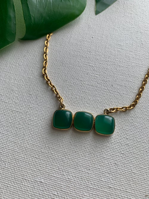 Image of HONEY TREE • Triple Green Onyx Bar Necklace