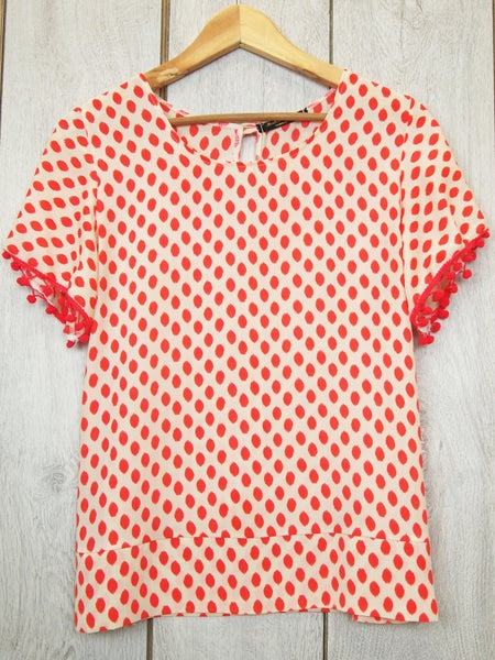 Image of Layla Top in spotty print and pom pom sleeves