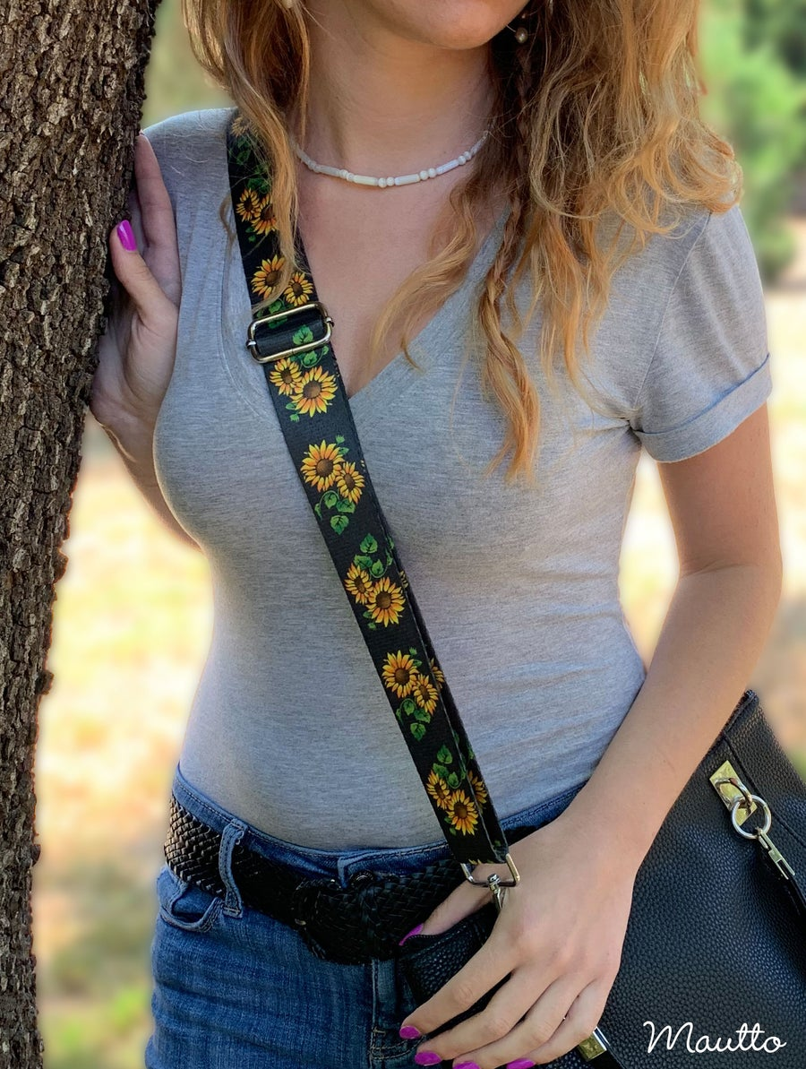 Image of Garden Daisy / Sunflowers Strap for Handbags - Spring Summer Floral Design - Guitar-inspired Strap