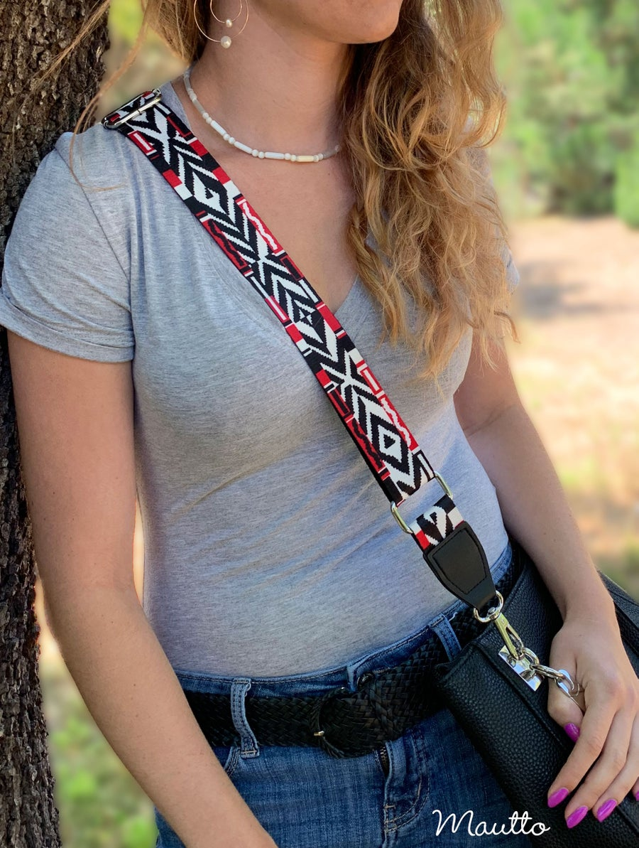 Image of Tribal Chevron Strap for Handbags - Aztec Herringbone Design - Adjustable Guitar-inspired Strap