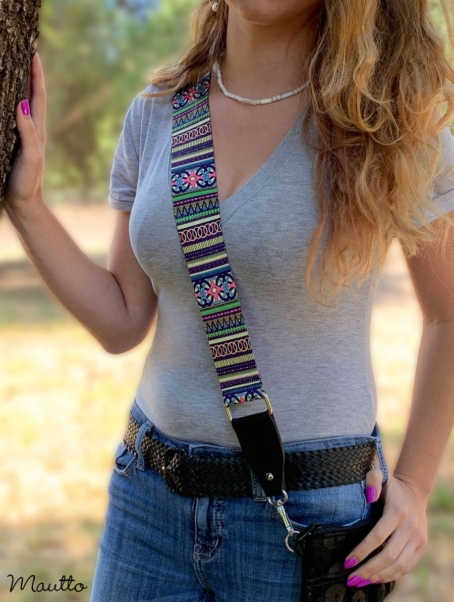 Image of Neon Doodle Strap for Handbags - Abstract Geometric Design - Adjustable Guitar-inspired Strap