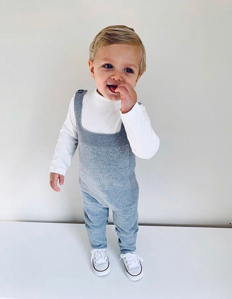 Image of Grey knit overalls