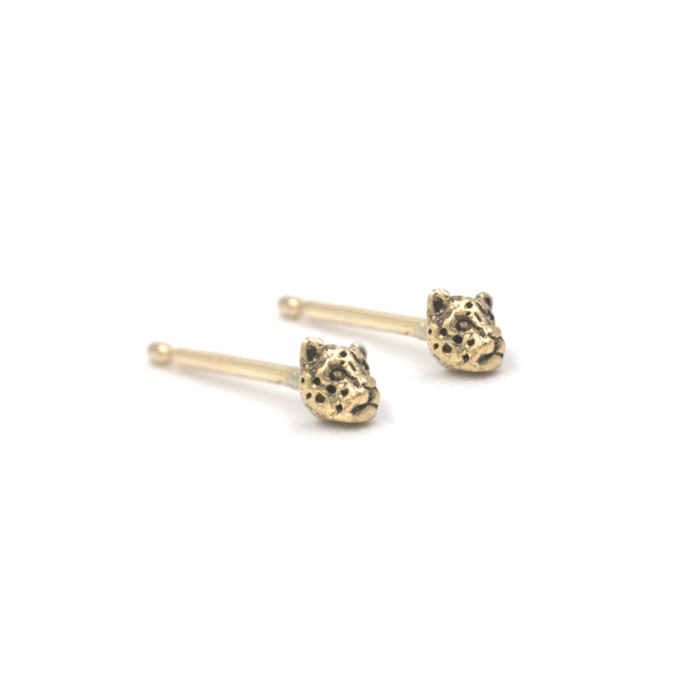 Image of Little Leopard Studs- 14K Gold
