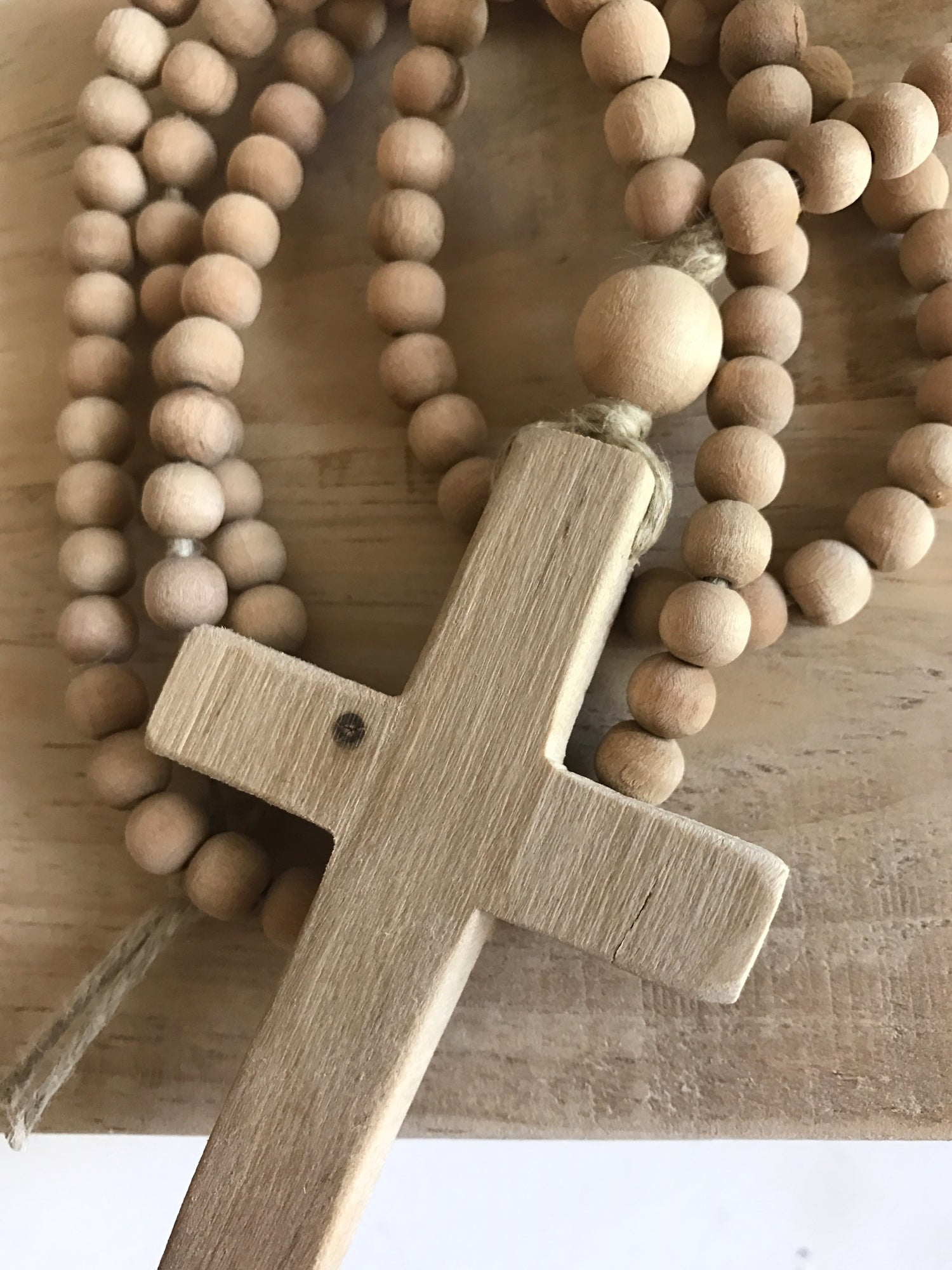 Image of Love Bead Necklace - Dried Palm with Wooden Cross