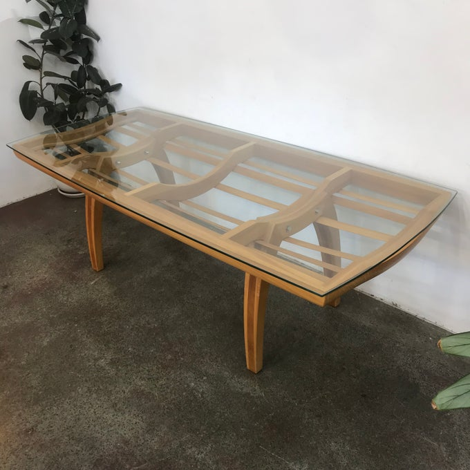 Image of STUNNING GLASS DINING TABLE