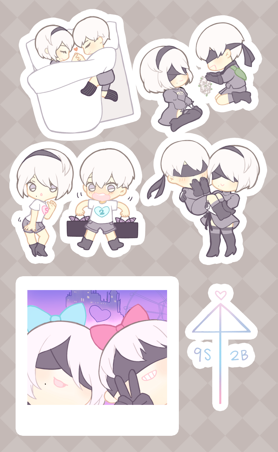 Image of 9S♥2B Stickers (NieR: Automata)