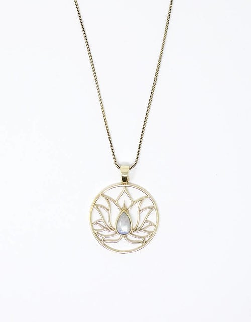 Image of Lotus and Moonstone Inspiration Necklace | Healing | Lucky Stone | Feminine Energy