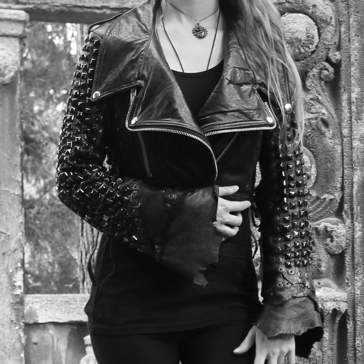 Image of BLACK ON BLACK STUDDED VAMPIRE JACKET (GENUINE LEATHER)