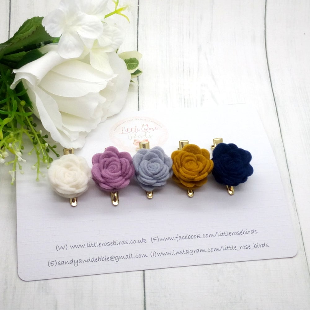 Image of SET OF 5 Rose Hair Clips or Headbands