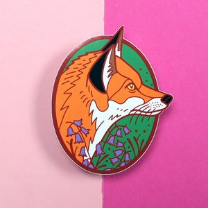 Image of Red Fox with bluebells, Die Cut Vinyl Sticker
