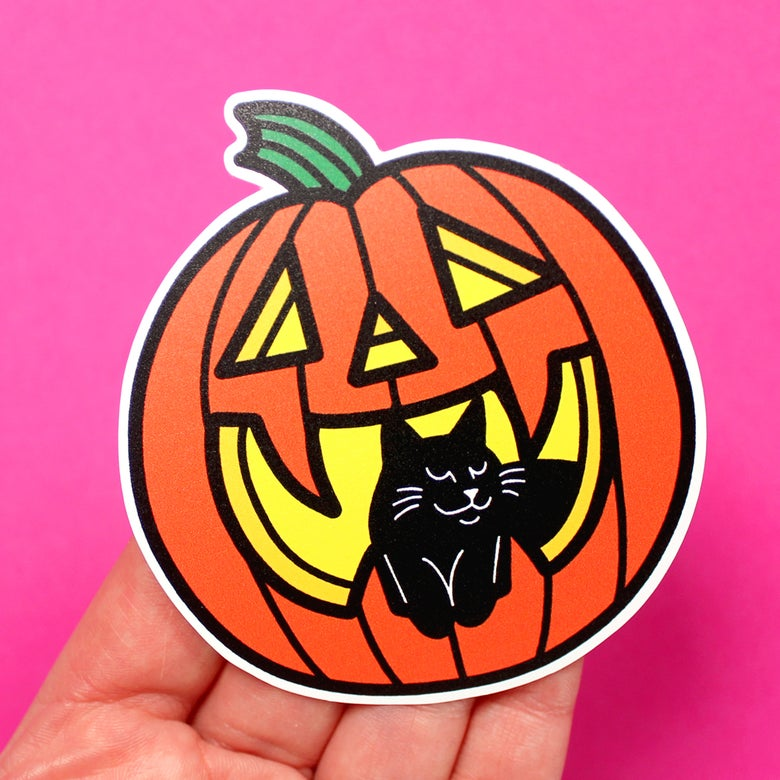 Image of Halloween Pumpkin & Black Cat, Die Cut Vinyl Sticker
