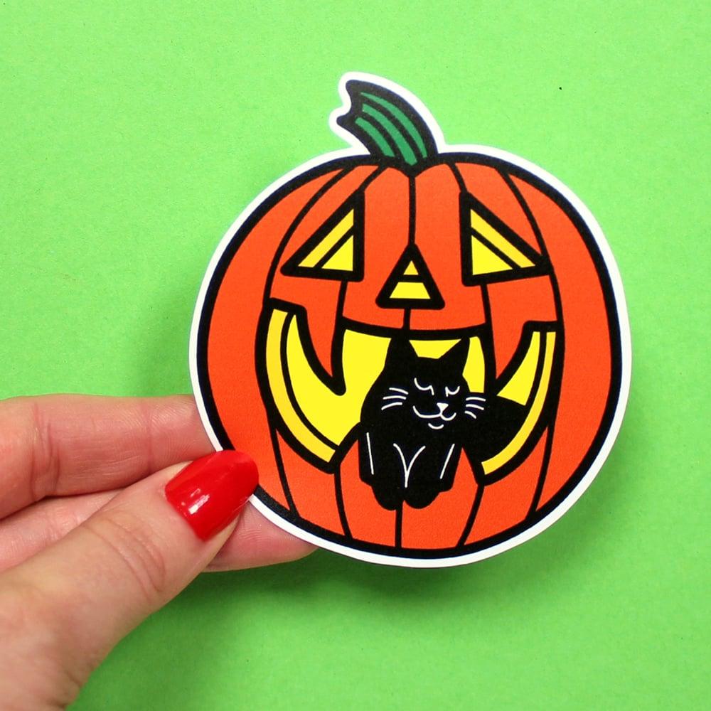 Image of Halloween Pumpkin & Black Cat, Die Cut Vinyl Sticker