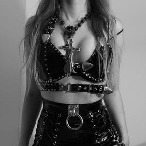 Image of CORONA BLACK BUCKLE BRA (GENUINE LEATHER)
