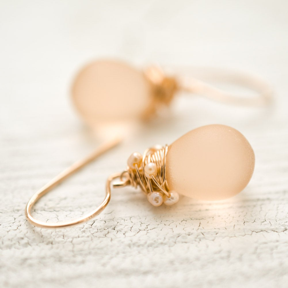 Image of Blush earrings frosted glass seed pearl