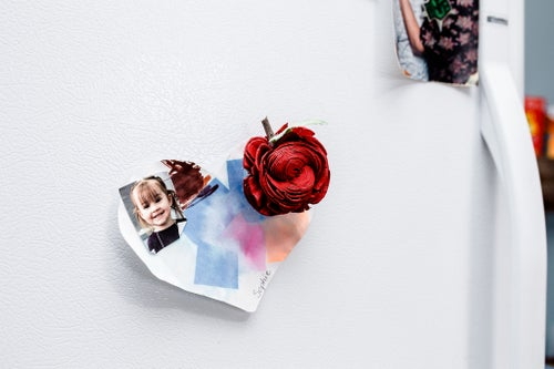 Image of Apple Shaped Wood Flower Magnet