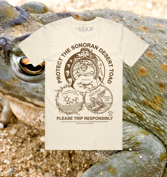 "Image of ""Protect The Toad"" - Brown on Natural Unisex Tee"