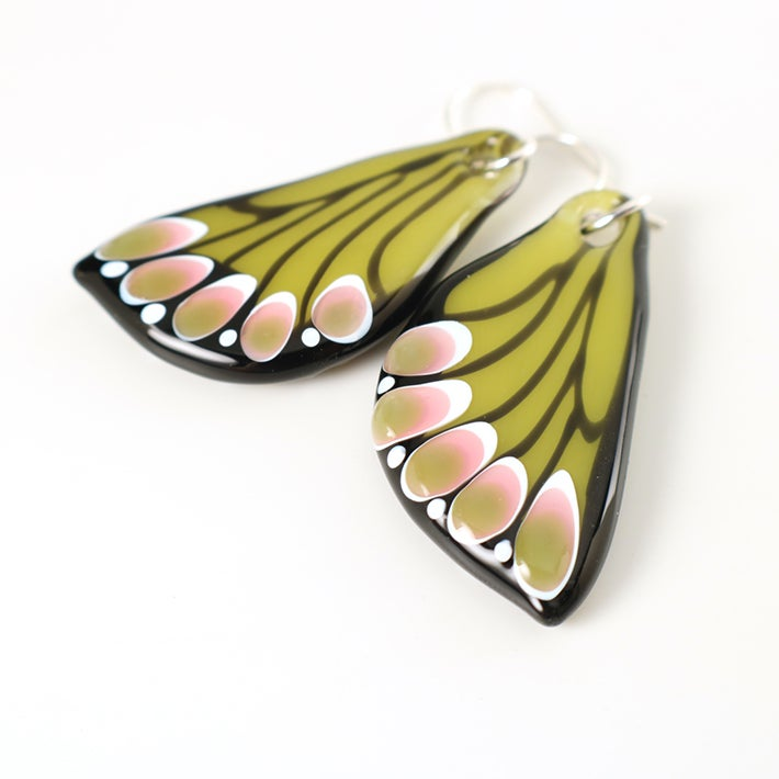 Image of Spring Green and Rose Glass Butterfly Wing Earrings
