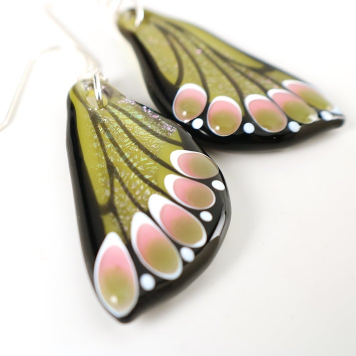 Spring Green and Rose Glass Butterfly Wing Earrings