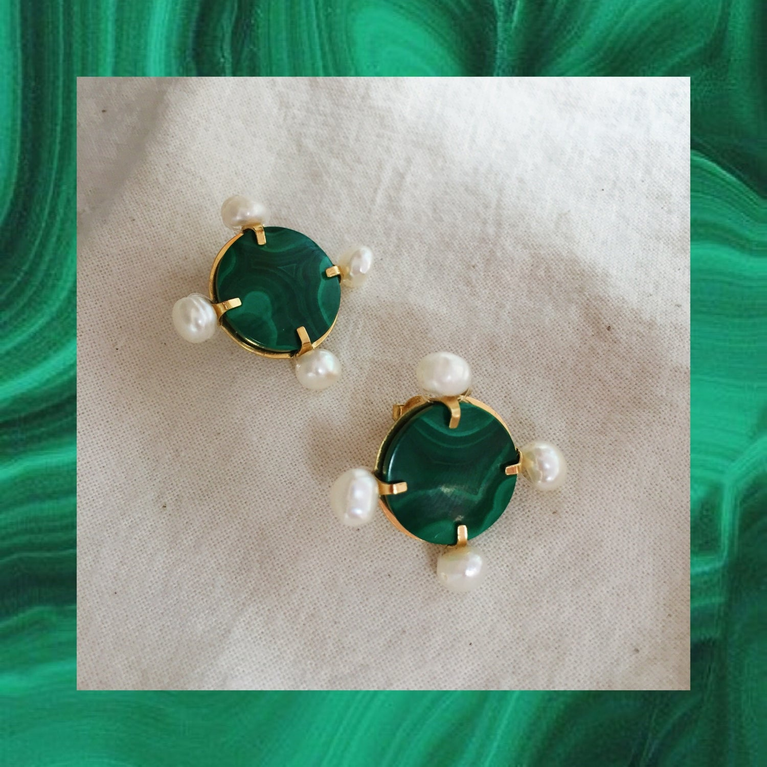 Image of SOLD OUT -  BOUCLES ROMANA malachite
