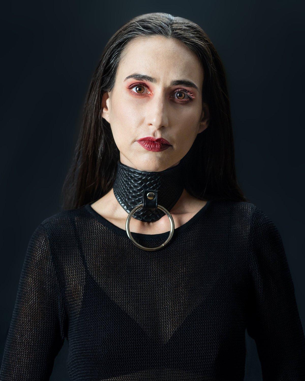 Bettie collar vegan snakeskin PVC