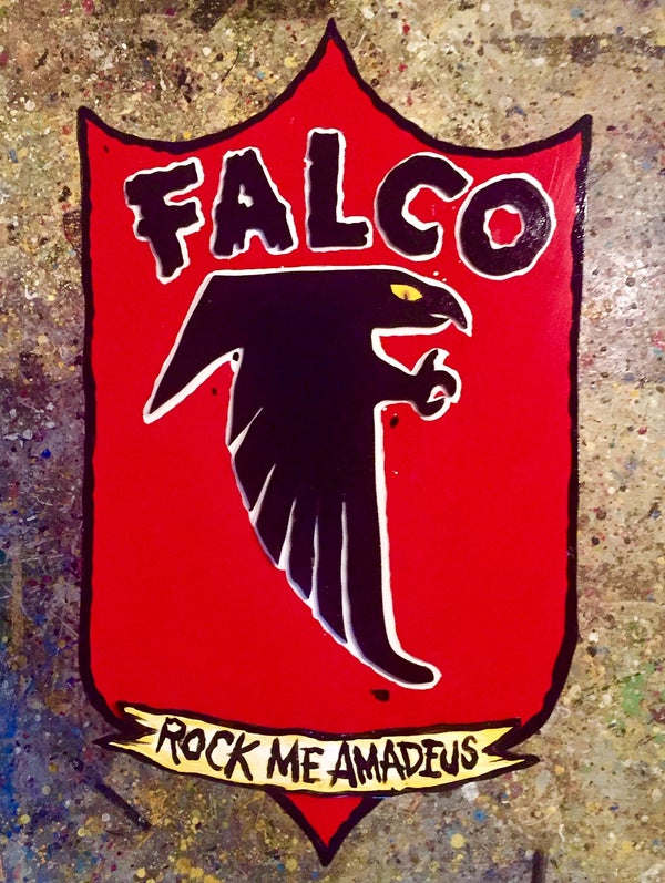 "Image of Falco ''Rock me Amadeus"" sheild  original art on wood"