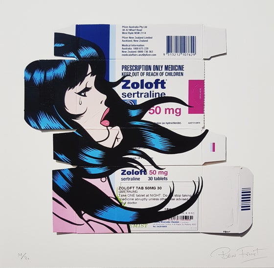 "Image of BEN FROST ""ONE TABLET AT NIGHT - ZOLOFT"" - LTD ED 30 - 30CM X 30CM"