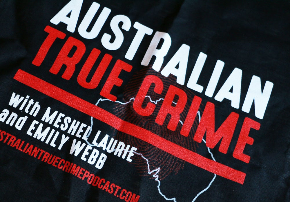 Image of Australian True Crime Podcast Tea Towel
