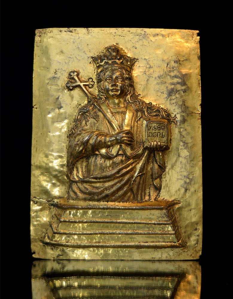 Image of 17th century gilt relief plaque of St. Agatha of Sicily