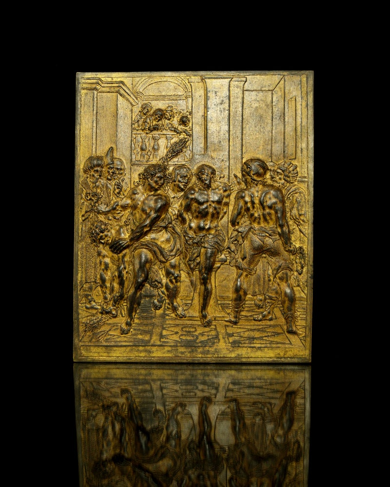 Image of 17th century Bronze Plaque of the Flagellation of Christ