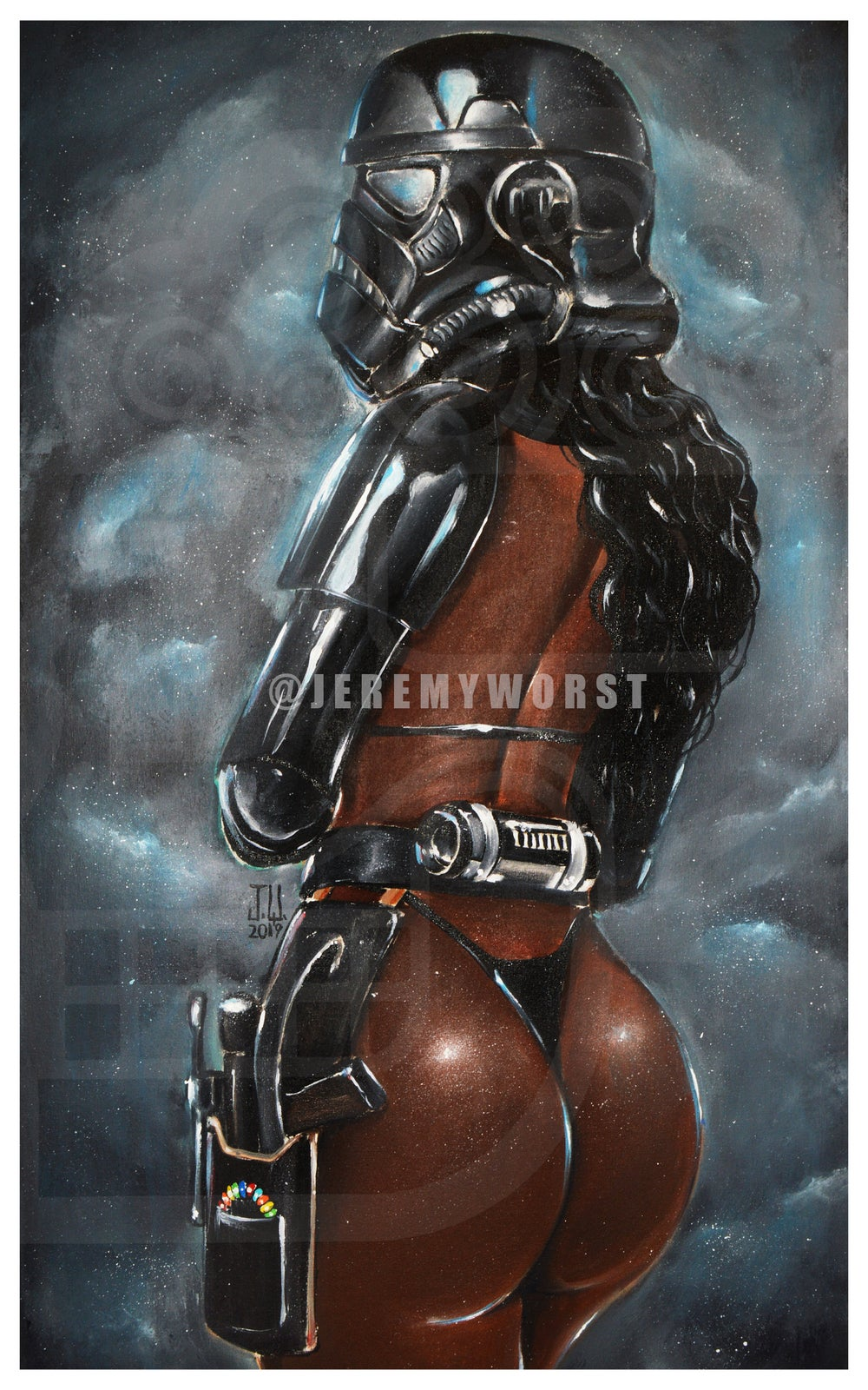 Image of JEREMY WORST Shadow Trooper Star Wars Storm Trooper sexy African American girl blaster Smokey sky