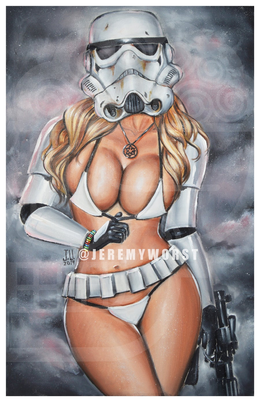 Image of STAR WARS SEXY Storm Trooper shadow Trooper Jeremy Worst sexy necklace blaster Poster cosplay pinup
