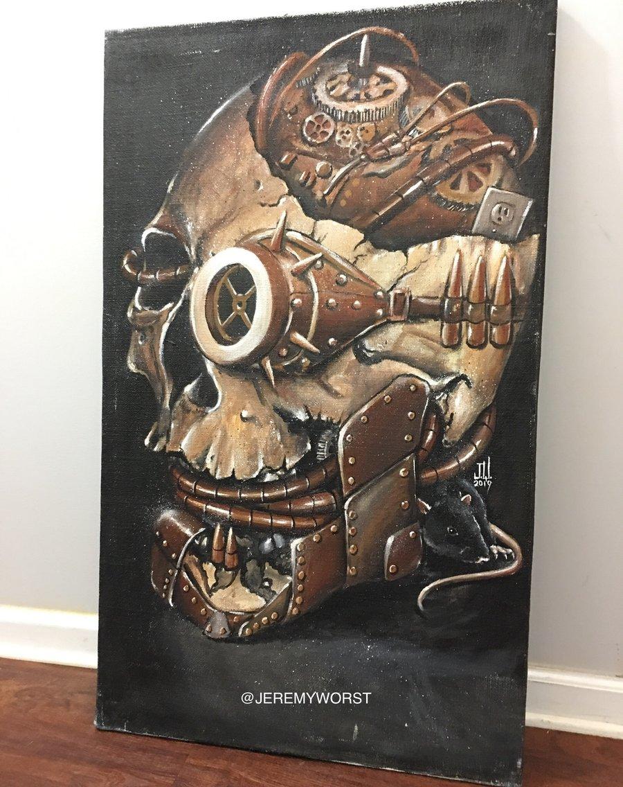 "Image of ""Skull 2019"" Acrylics by Jeremy Worst"