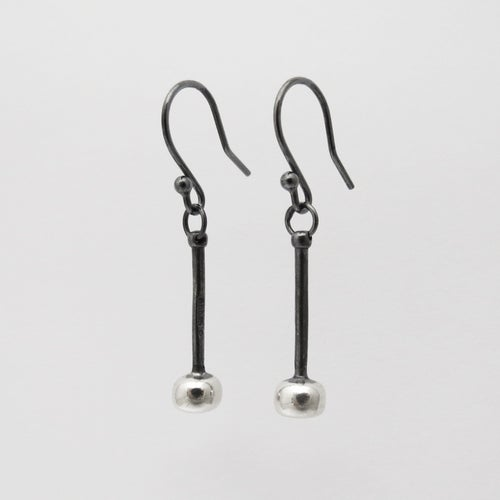 Image of Black and Silver Tenor Stick Earrings