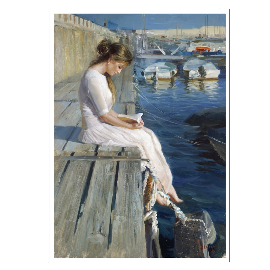 "Image of PRINT ON CANVAS ""AT THE PIER OF BLANES"""