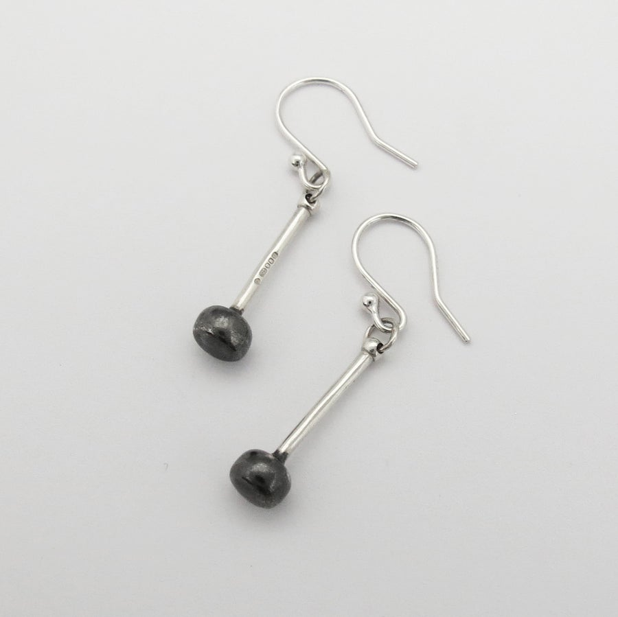 Image of Silver and Black Tenor Stick Earrings