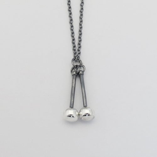Image of Black and Silver Tenor Sticks Pendant