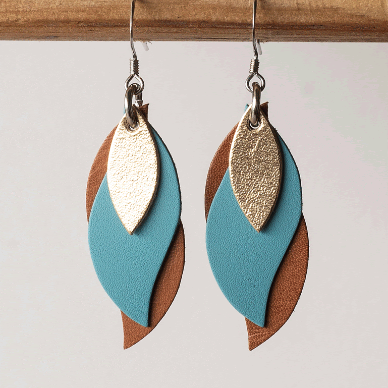Image of Handmade Kangaroo leather leaf earrings - Gold, blue, brown [LBL-164]