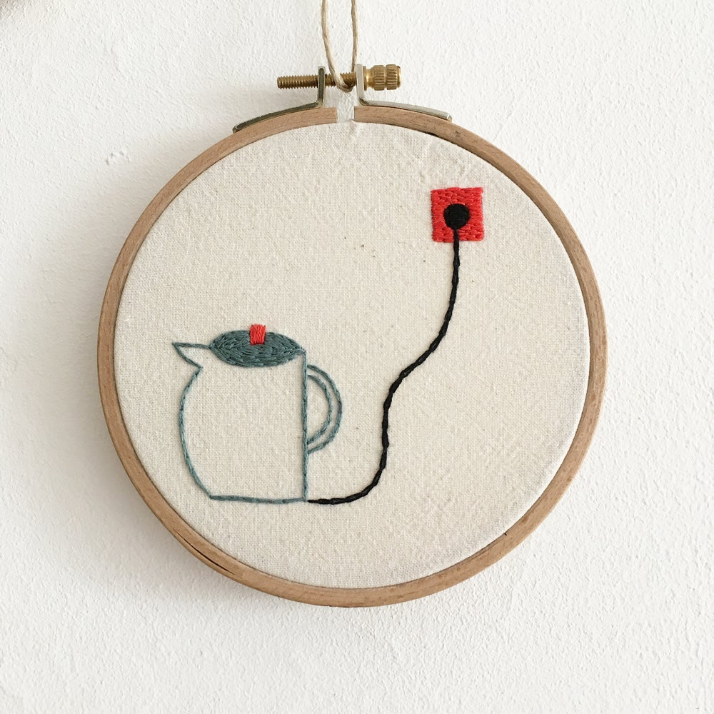 Image of Electric tea pot - one of a kind hand embroidered wall hanging, 5'' hoop //Charity listing for Anori