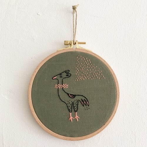 Image of Hybrid Animal IV - one of a kind hand embroidered wall hanging, 5'' hoop //Charity listing for Anori
