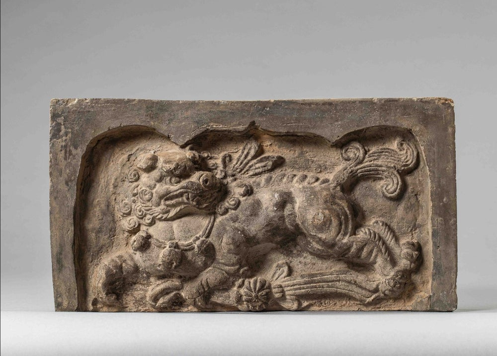 Image of 7th-9th century Tang Dynasty Terracotta Sanctuary Brick depicting a Chimera