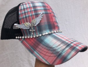 Image of Teal/Peach Trucker Hat Angel Wings Cross Charm