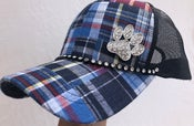 Image of Blue Patch Plaid Trucker Hat with Crystal Paw