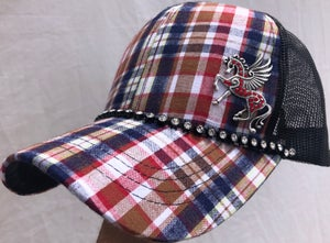 Image of Red/Blue Plaid Trucker Hat Red Crystal Pegasus