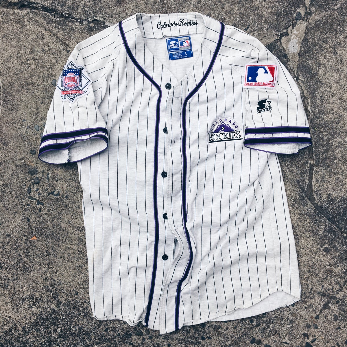 Image of Original 90's Starter Colorado Rockies Pinstripe Jersey.