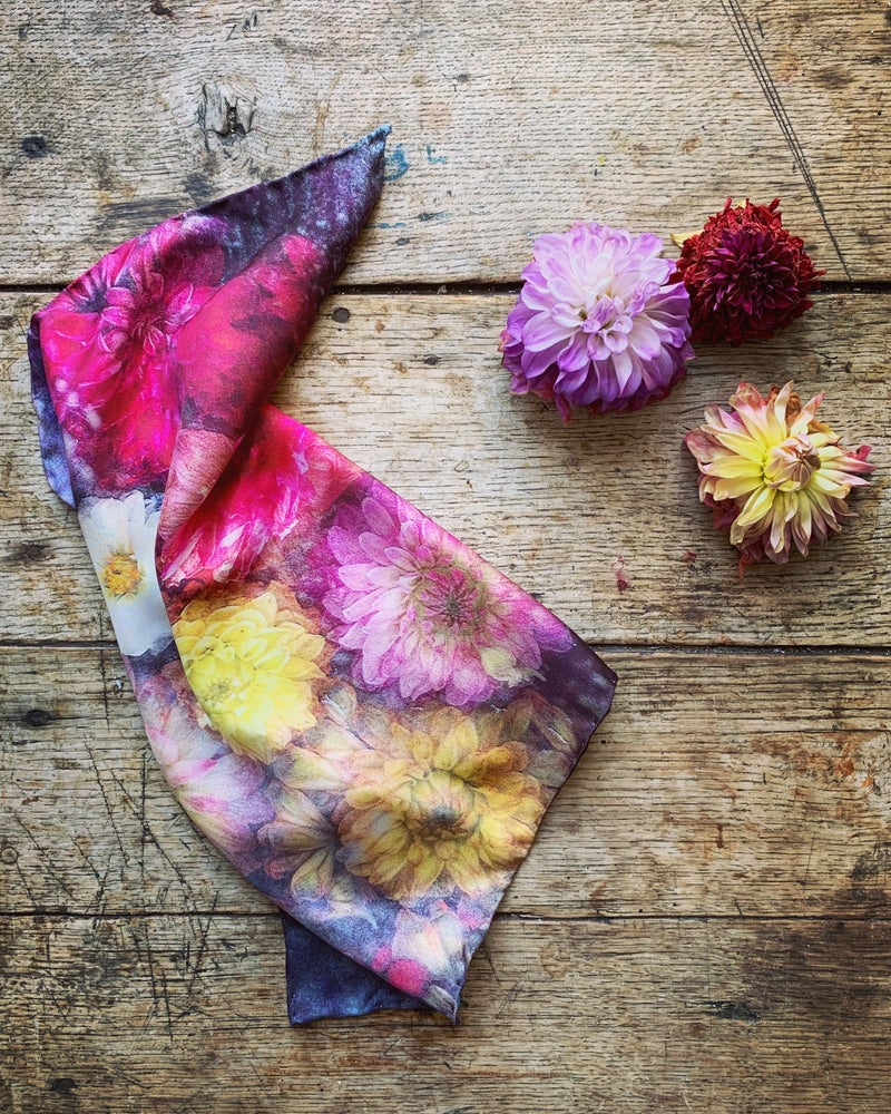Image of 'DAHLIAS' - 100% SILK TWILL SCARF OR POCKET SQUARE WITH HAND ROLLED EDGES