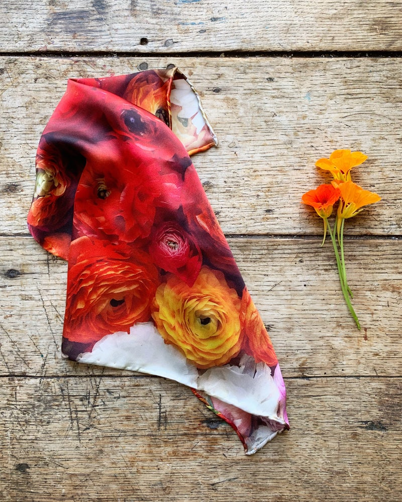 Image of 'RANUNCULUS' -  100% SATIN SILK POCKET SQUARE WITH HAND ROLLED EDGES