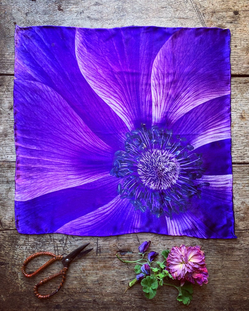 Image of 'ANEMONE' - 100% SATIN SILK POCKET SQUARE WITH HAND ROLLED EDGES