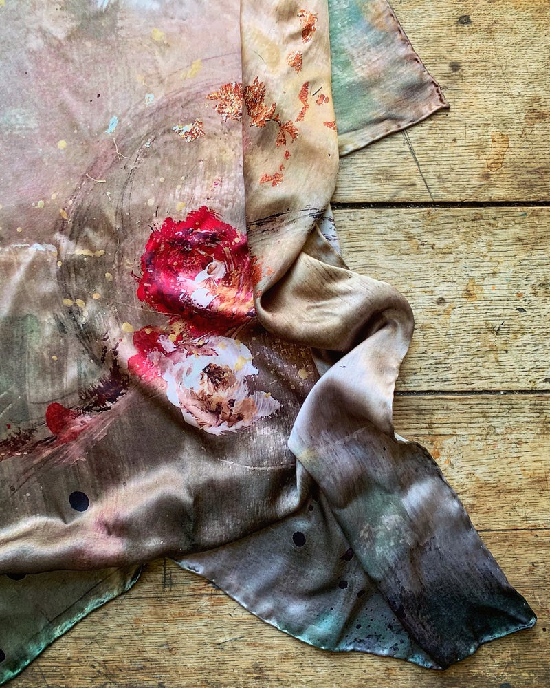 Image of 'ROSE BRANCH' - 100% SATIN SILK SCARF WITH HAND ROLLED EDGES