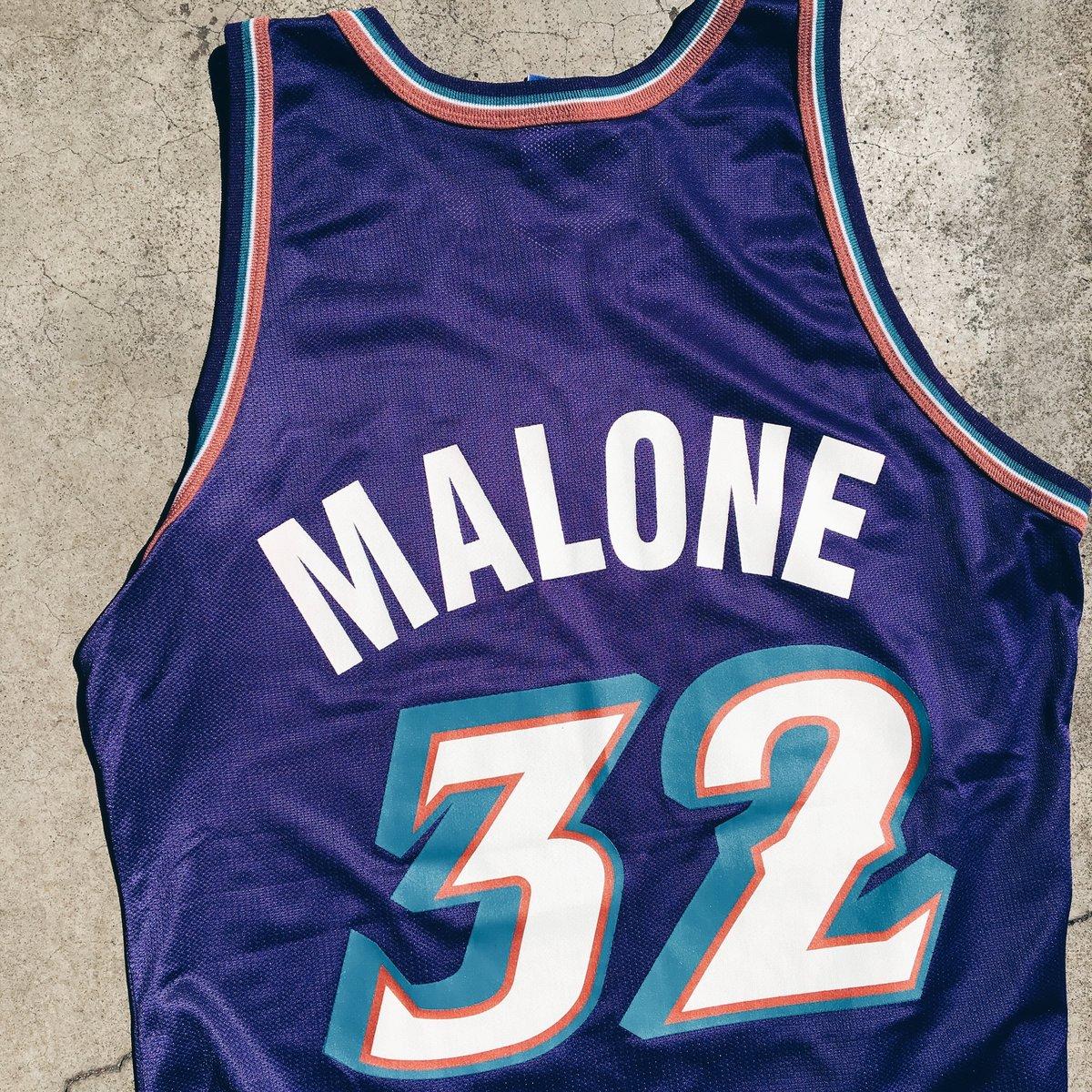 Image of Original 90's Champion Karl Malone Jazz Jersey + Grateful Dead Shit.