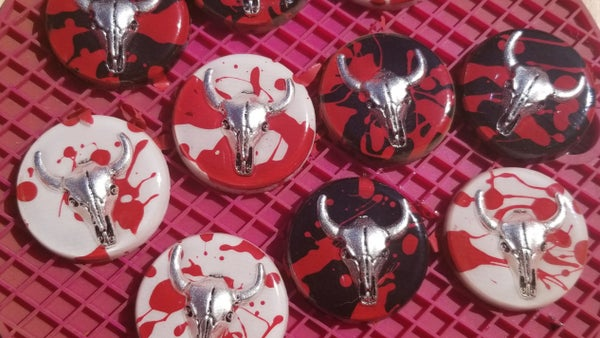 Image of Round Cattle Skull Pins